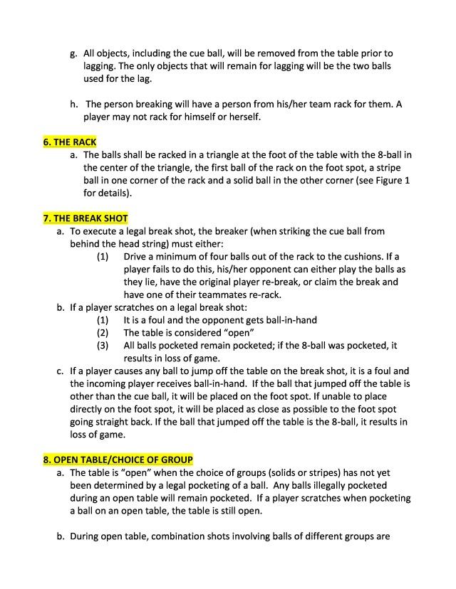 Rules Anjeongri Pool League - Open table rules